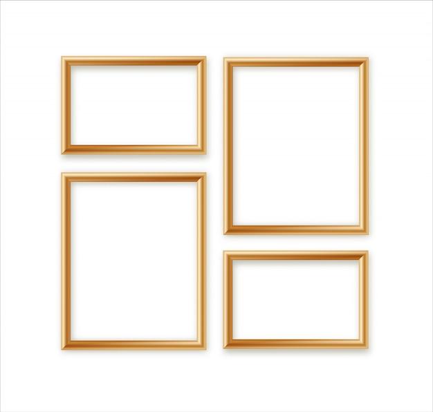 Conjunto de composición de plantilla de marco de imagen en blanco aislado sobre fondo de pared