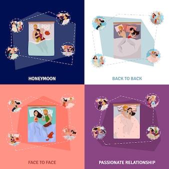 Conjunto de composición de poses para dormir
