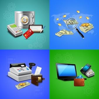 Conjunto de composición realista de métodos de pago