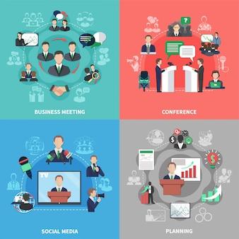Conjunto de composición de reuniones de negocios