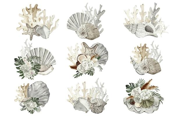 Conjunto de composiciones de acuarela con corales marinos y flores.
