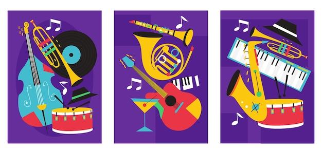 Conjunto de composiciones de carteles del festival de jazz que incluyen saxofón trombón clarinete violín contrabajo piano trompeta bombo y guitarra banjo