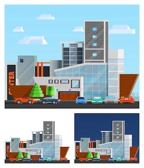 Conjunto de composiciones de construcción de centro comercial