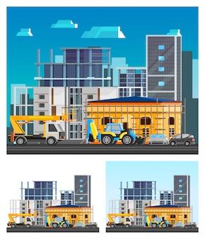 Conjunto de composiciones de construcción de edificios
