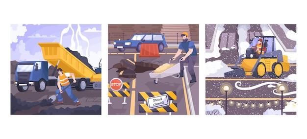 Conjunto de composiciones de cuadrados de reparación de carreteras.