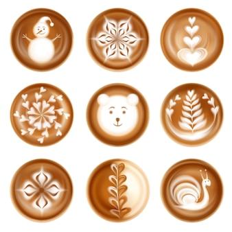Conjunto de composiciones decorativas de arte latte