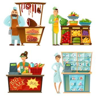 Conjunto de composiciones de dibujos animados de servicio de mostrador vendedor