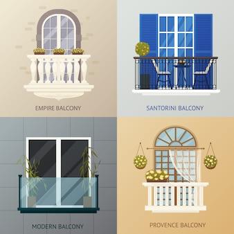 Conjunto de composiciones de diseño de balcón