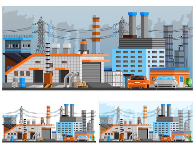 Conjunto de composiciones de edificios industriales