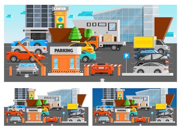 Conjunto de composiciones de estacionamiento de centro comercial