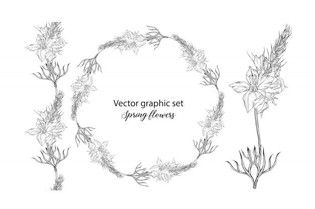 Conjunto de composiciones florales vector blanco y negro