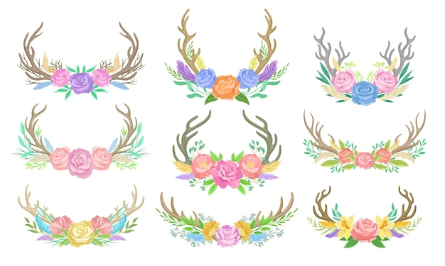 Conjunto de composiciones de flores de colores, cuernos de ciervo y ramas. ilustración sobre fondo blanco.