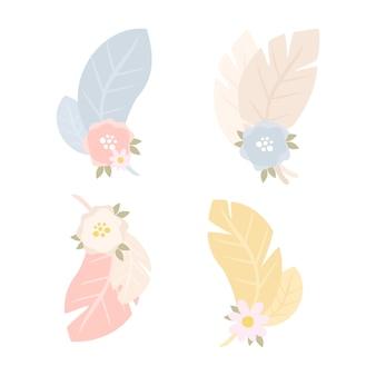 Conjunto de composiciones con flores y plumas.