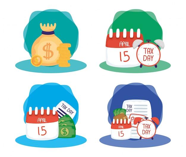 Conjunto de composiciones de ilustración de día de impuestos