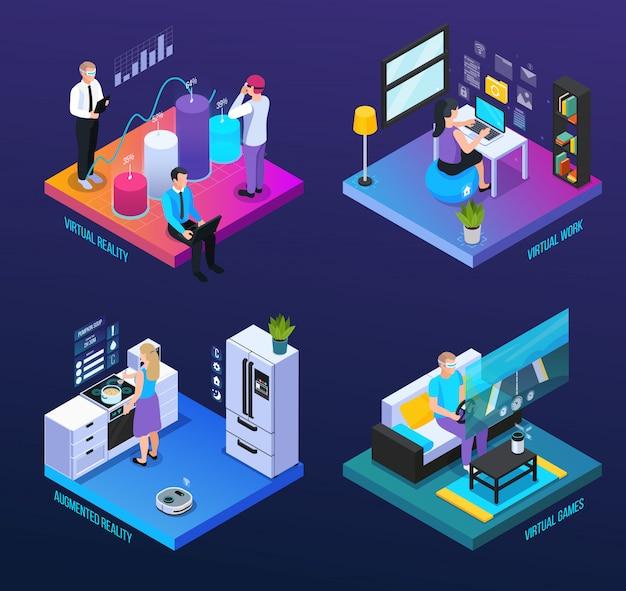Conjunto de composiciones isométricas virtuales de realidad aumentada de 360 grados 2x2 con personajes humanos e iconos de computadora ilustración vectorial