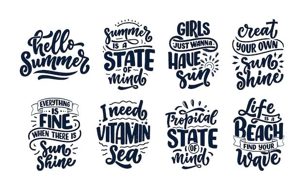 Conjunto con composiciones de letras dibujadas a mano sobre verano. divertidos lemas de temporada.