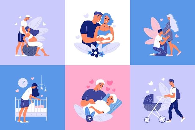 Conjunto de composiciones de maternidad embarazada.