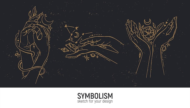 Conjunto de composiciones místicas. manos, mujer, espiritualidad, magia y espiritualidad.