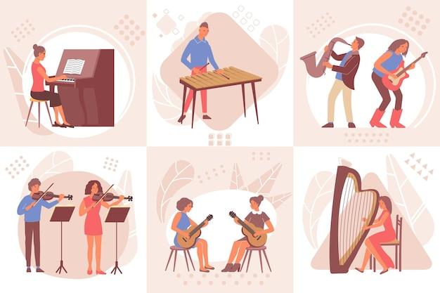 Conjunto de composiciones musicales de aprendizaje.