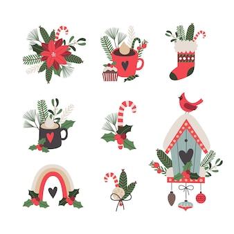 Conjunto de composiciones navideñas prefabricadas. ilustración de vector de tarjetas de felicitación.