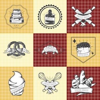 Conjunto de composiciones de panadería vintage.