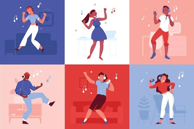 Conjunto de composiciones de personas bailando con auriculares y teléfonos inteligentes.