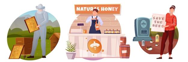 Conjunto de composiciones planas de apicultura con personas protegiendo a las abejas.