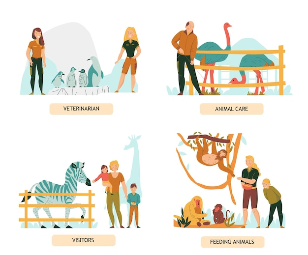 Conjunto de composiciones planas con visitantes del zoológico y personas que cuidan animales aislados.