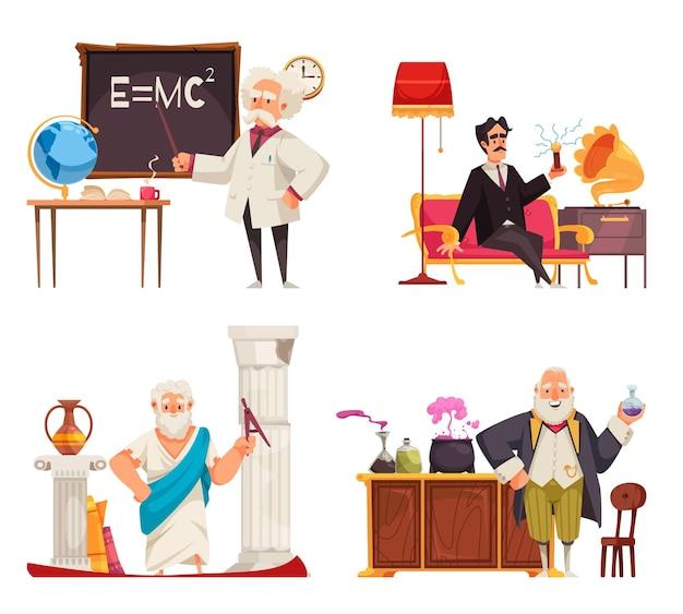 Conjunto de composiciones de profesores científicos.