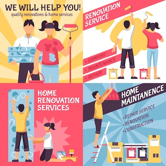 Conjunto de composiciones publicitarias de renovación.