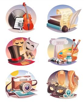 Conjunto de composiciones redondas de artes