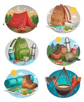 Conjunto de composiciones redondas de camping