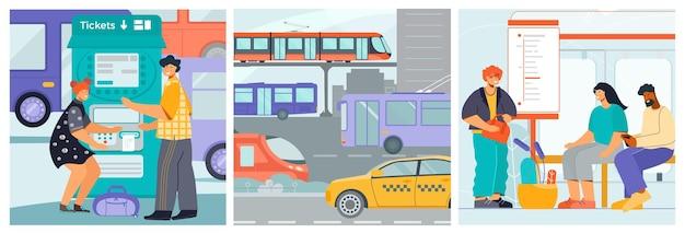 Conjunto de composiciones de transporte público.