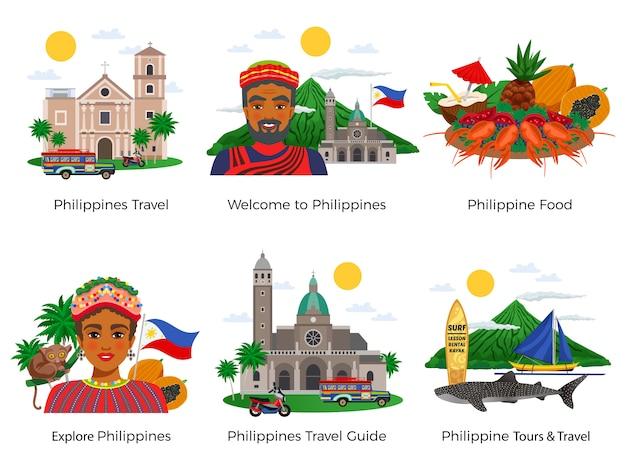 Conjunto de composiciones de viaje de filipinas con arquitectura comida nacional vestido y vida salvaje aislado
