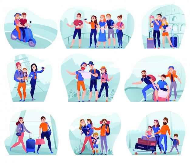 Conjunto de composiciones con viajeros en diversas actividades con equipaje y equipamiento turístico aislado
