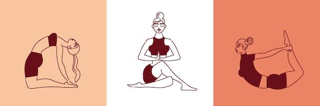 Conjunto de composiciones de yogui de mujer de arte lineal.