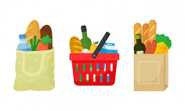 Conjunto de compra de abarrotes. bolsa textil, cesta de la compra y paquete de papel con productos. alimentos y bebidas, verduras y frutas.