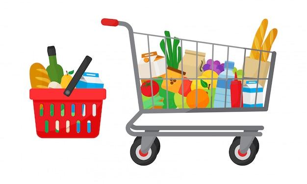 Conjunto de compra de abarrotes. cesta de la compra y carro con productos.