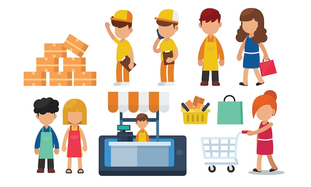 Conjunto de compras en línea, comercio electrónico, concepto de entrega con carácter
