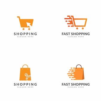 Conjunto de compras logo plantilla vector diseño