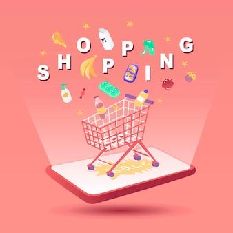 Conjunto de compras con productos y letras ilustración vectorial entrega en el mercado en línea comprar compra
