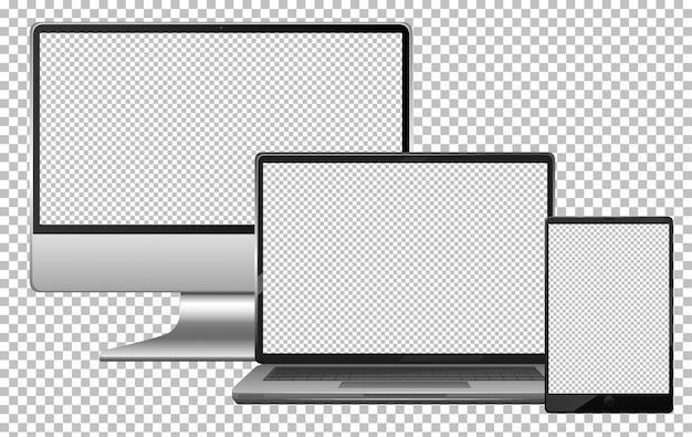 Conjunto de computadora portátil y tableta electrónica gadget de pantalla en blanco aislado
