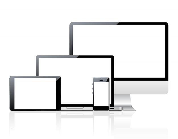Conjunto de computadoras y dispositivos con pantalla en blanco