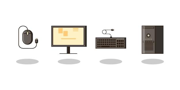 Conjunto de computadoras y equipos