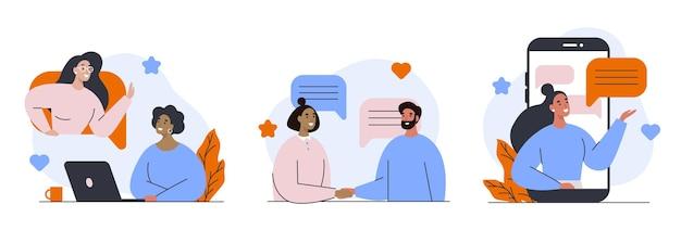 Conjunto de comunicación en redes sociales. reunión en línea y charla con amigos.