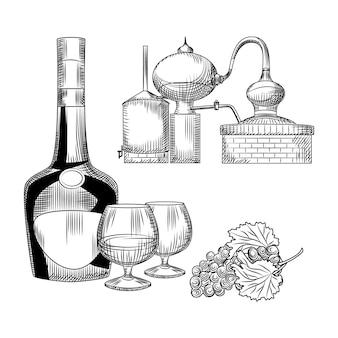 Conjunto de coñac en estilo dibujado a mano. botella de coñac, copa, racimo de uvas, alambique.