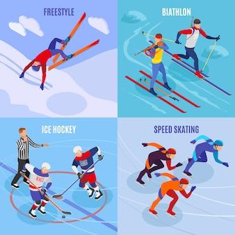 Conjunto de concepto 2x2 de deportes de invierno de patinaje de velocidad de freestyle iconos cuadrados de biatlón de hockey sobre hielo isométrico