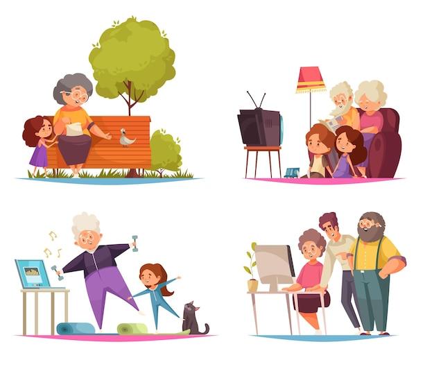 Conjunto de concepto de abuela y abuelo