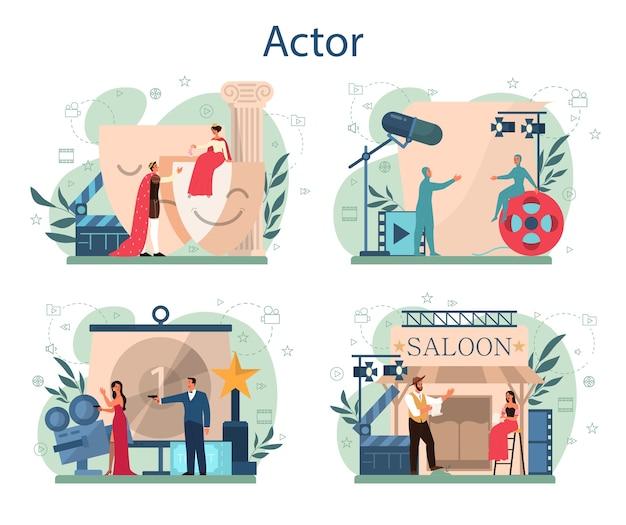 Conjunto de concepto de actor y actriz. idea de gente creativa y profesión. representaciones teatrales y producción cinematográfica.