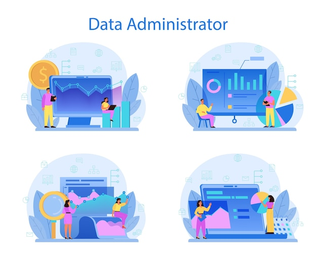 Conjunto de concepto de administrador de base de datos. personaje femenino y masculino que trabaja en el centro de datos.